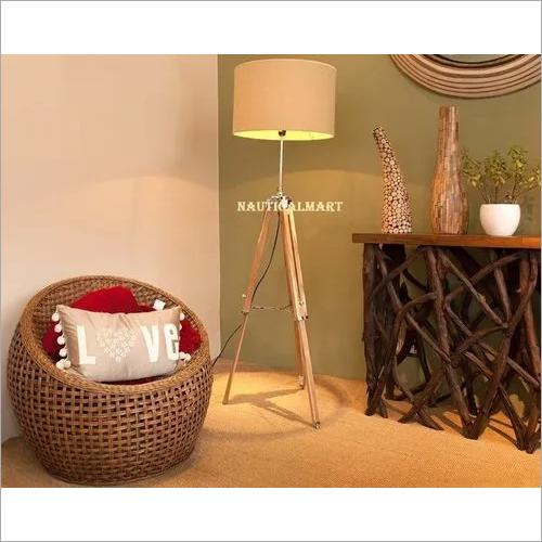 NAUTICALMART FLOOR LAMP NATURAL WOODEN TRIPOD STAND