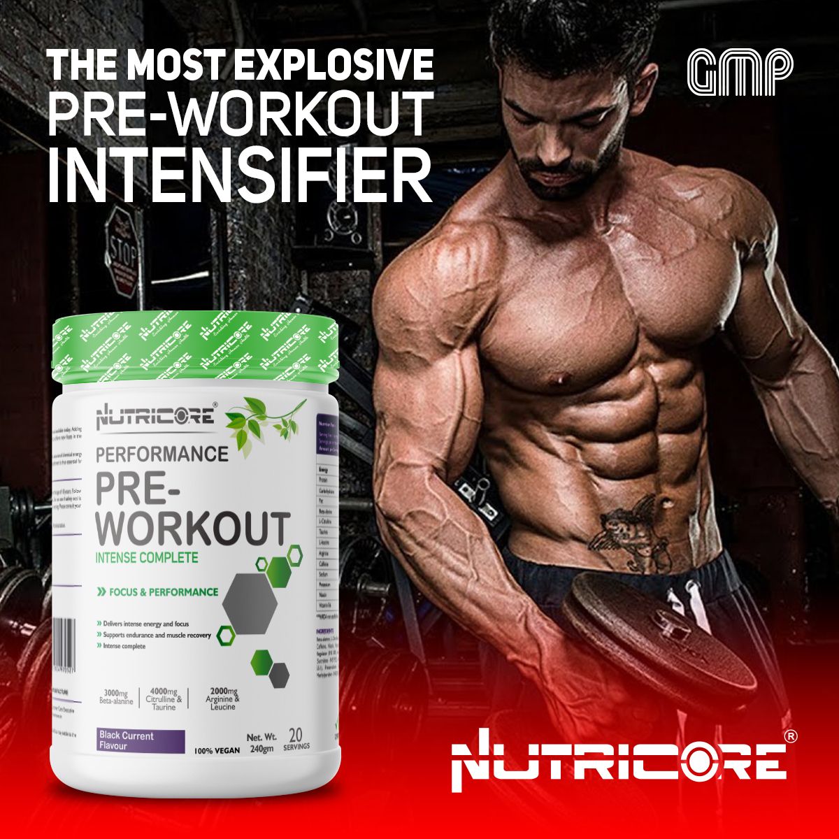 240 gm Black Current Flavour Pre-Workout Powder