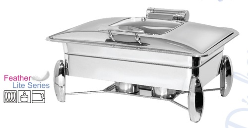 Chafing Dish Feather Touch Rectangle With Glass Lid 9 Ltr. Diamond Stand - Rs. 10980.00++