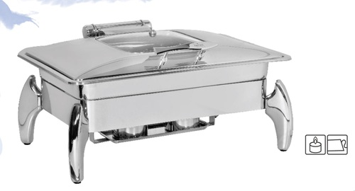 Chafing Dish Rect. with Glass Lid 9 ltr. Tiger Stand