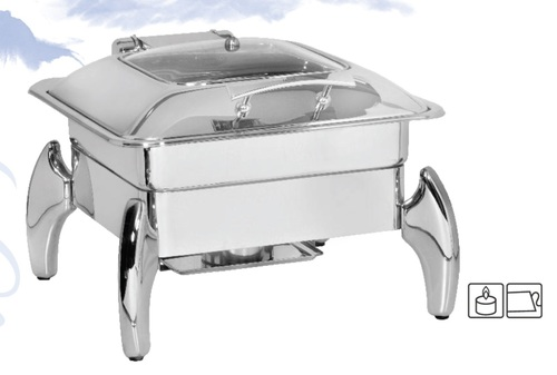 Chafing Dish Square with Glass Lid 6.5 ltr. with Tiger Stand