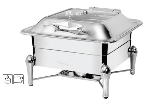 Chafing Dish Square with Glass Lid 6.5 ltr. with Sleek Stand
