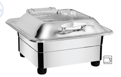 Chafing Dish Square with Glass Lid 6.5 ltr. & heating element