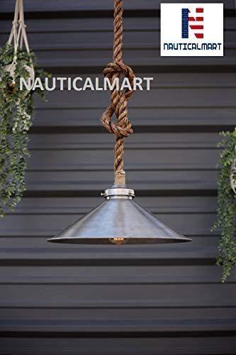 The Stehlen Steel Pendant Light - Industrial Rope Lighting - Rustic Swag Ceiling Lamp - Metal Shade Hanging Light Fixture - Edison Bulb