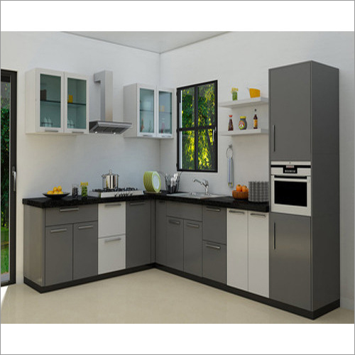 Two Color Combination Of L-Shaped Modular Kitchen