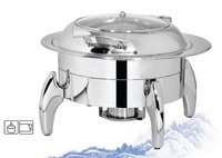 Chafing Dish Round with Glass Lid 6.5 ltr. with Tiger Stand