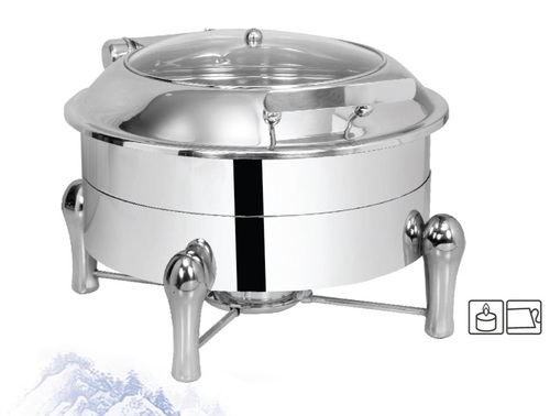 Chafing Dish Round with Glass Lid 6.5 ltr. with Sleek Stand