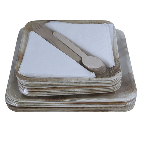 Square Areca Leaf Plate Set with Two Sizes
