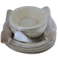 Areca Leaf Two Sizes Bowl Set with Folk and Spoon
