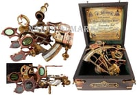 Nauticalmart Brass Ship History Sextant With Hardwood Box