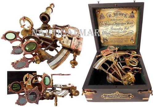 Nauticalmart Brass Ship History Sextant With Hardwood Box
