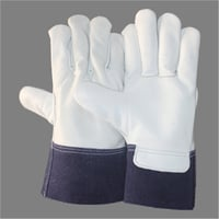 Split Leather Hand Cuffs Chrome Driving Hand Gloves