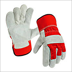 12 Inches Split leather Canadian Gloves red and white