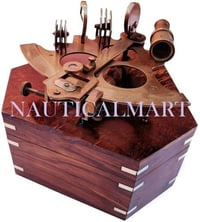 Nauticalmart Antique Nautical Brass Maritime Sextant With Premium Solid Hard Wood Crafted Box | Sailor's Pirate Decor Gift