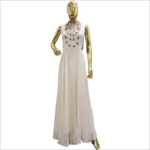 Ladies Designer White Gown Dress