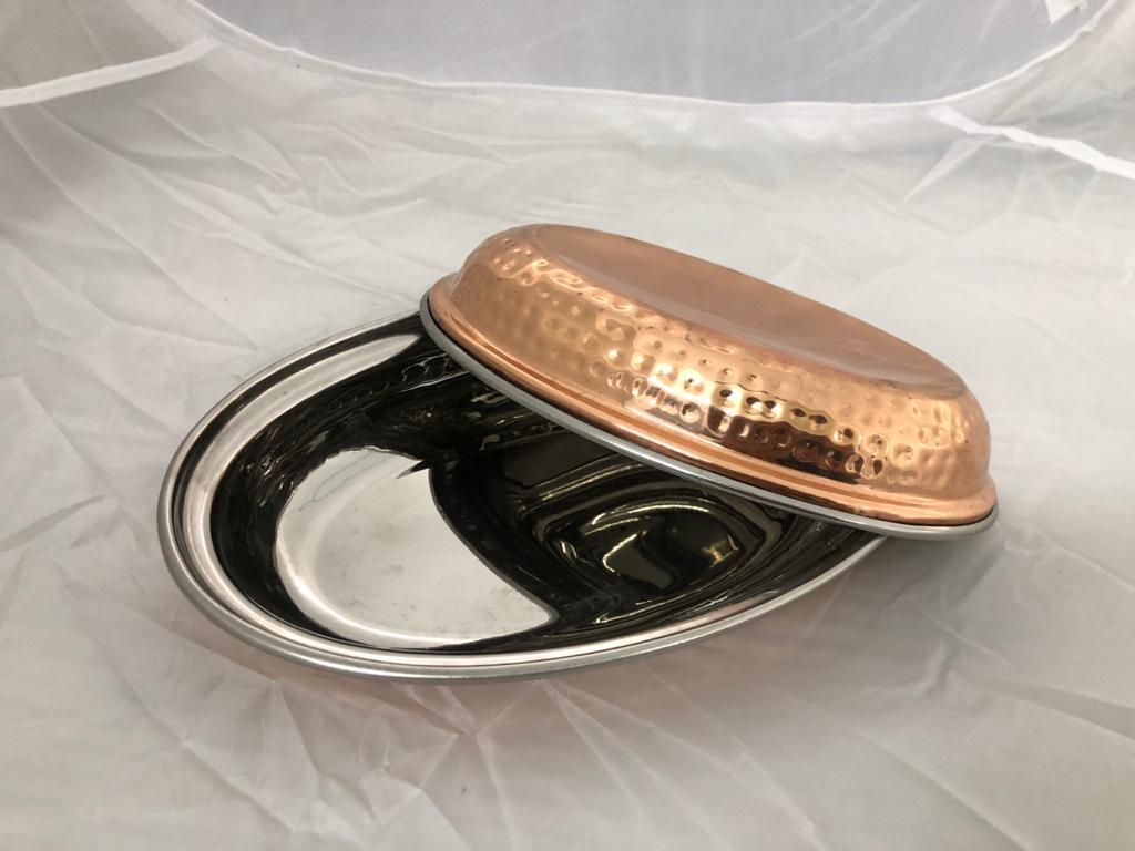 OVAL DISH STEEL COPPER HAMMERED