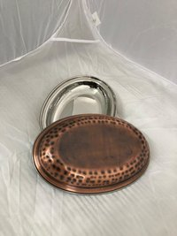 OVAL DISH STEEL COPPER ANTIQUE HAMMERED