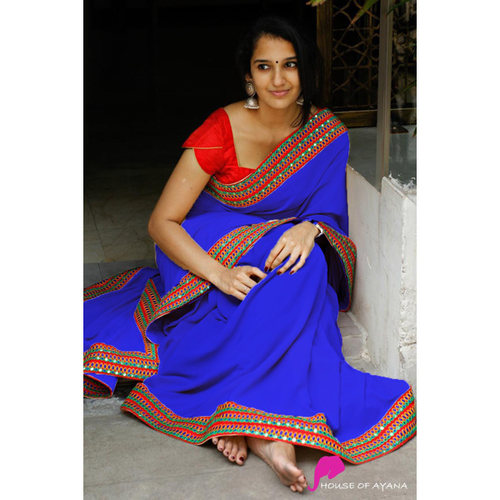 ANAYA Royal Blue Saree