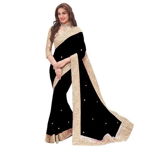 Black Patta Saree