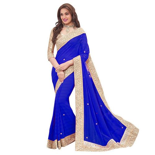 Blue Patta Saree