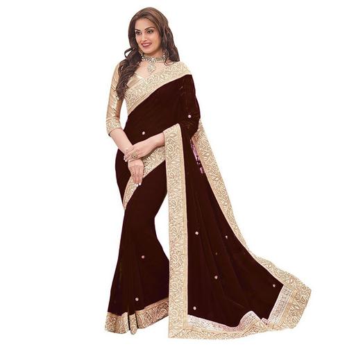 Brown Patta Saree