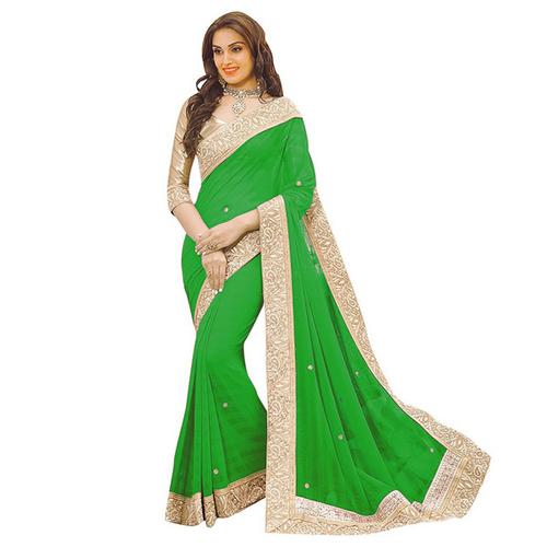 Green Patta Saree