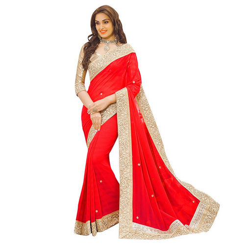 Red Patta Saree