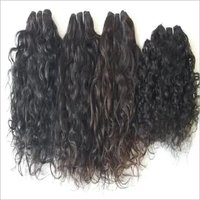 Natural  Curly Human Hair Machine Weft , Tangle And Shedding Free
