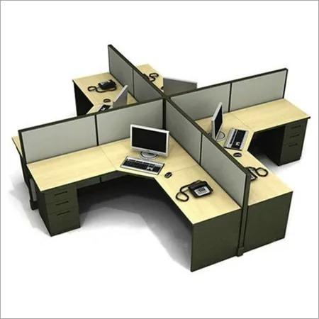 Green & Wooden L Shape Workstations