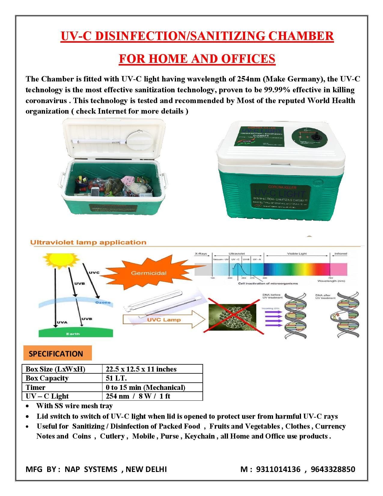 UV-C  SANITIZING CHAMBER