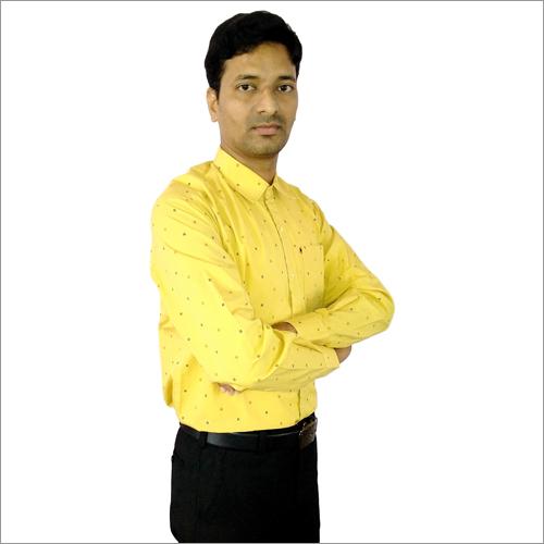 Mens Mustard Yellow Formal Shirt
