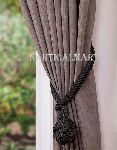 Nauticalmart Black Rope Knot Curtain Tiebacks Halloween Decor