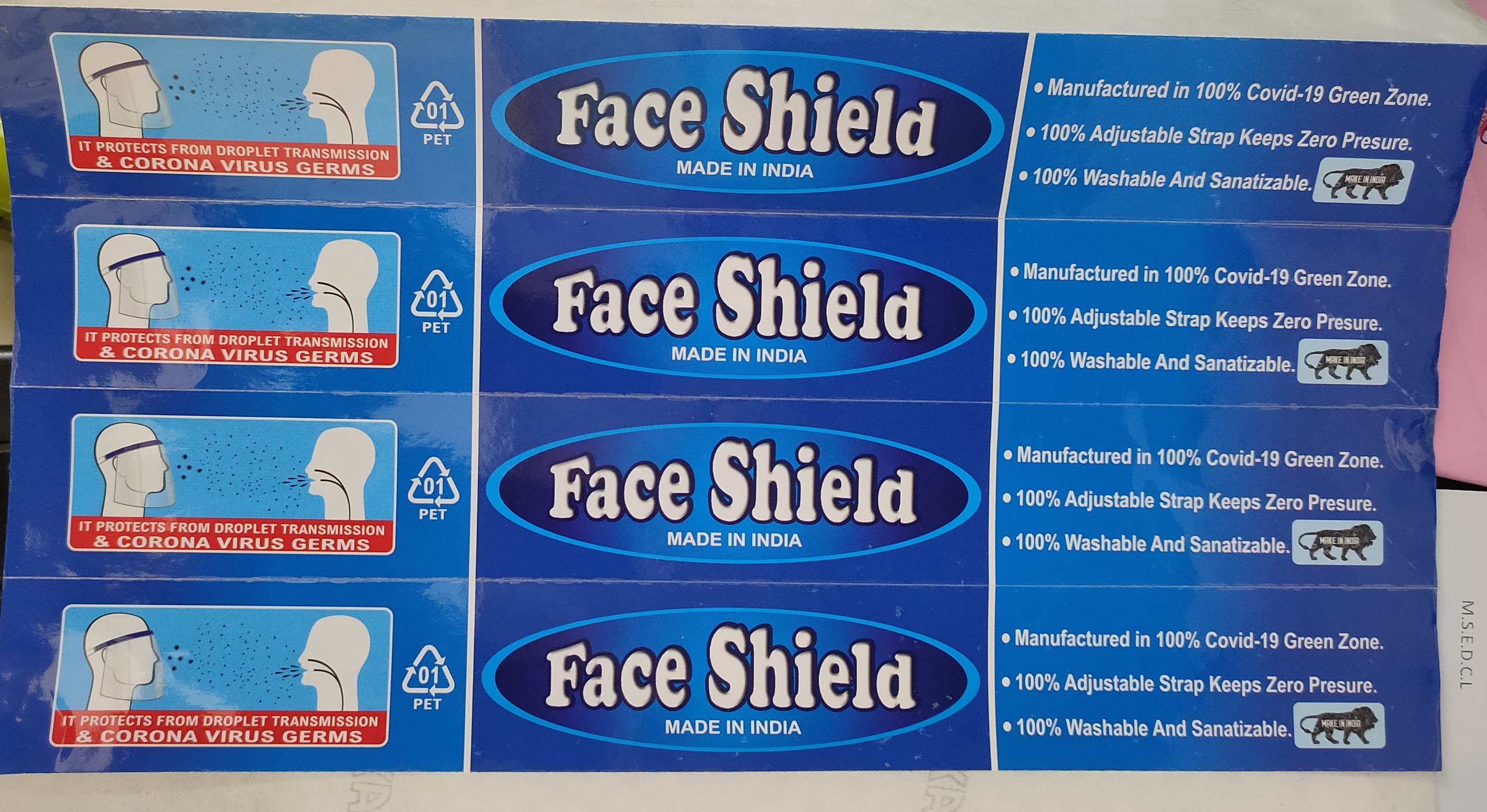 Face Shield Printed Sticker With Thermal Lamination