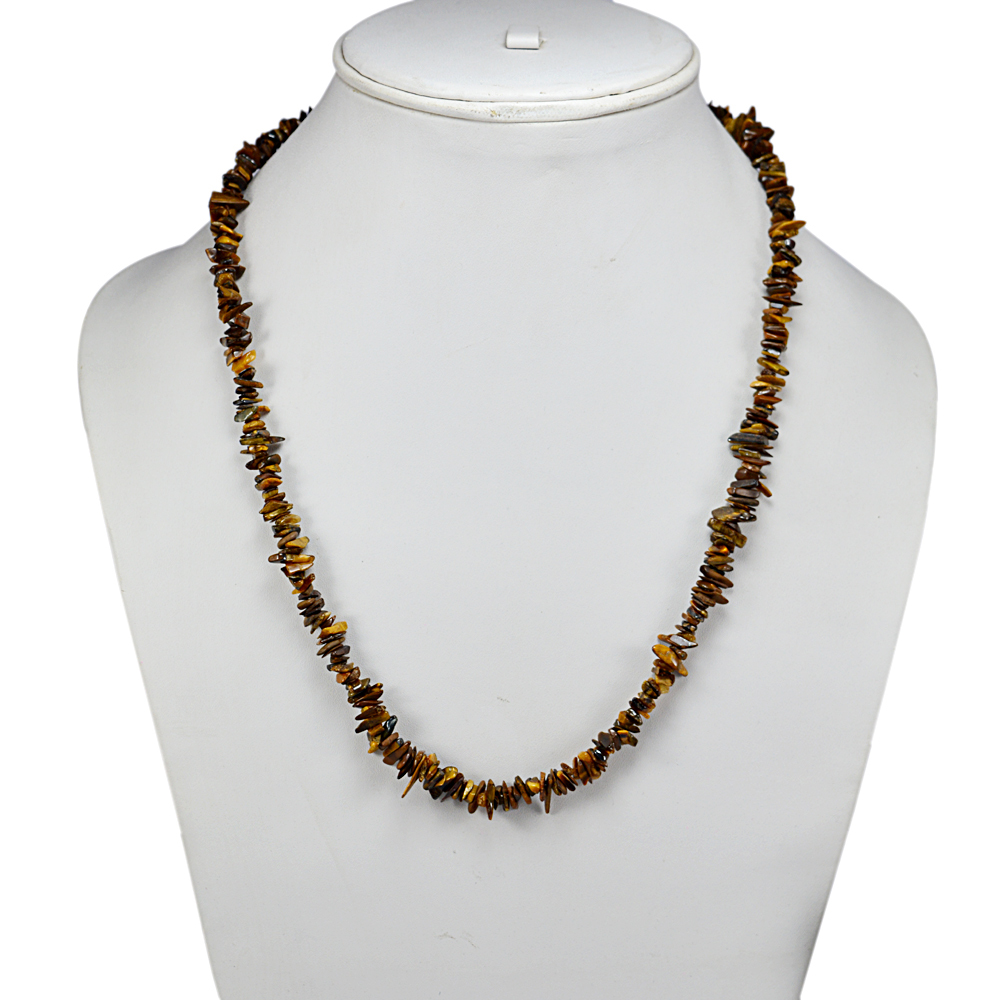 Tiger Eye Gemstone Chips Necklace PG-131506