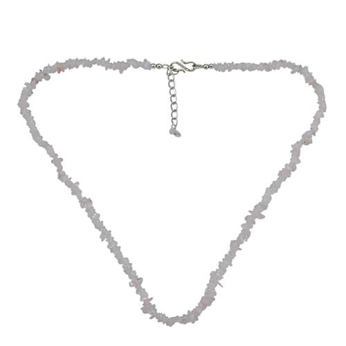Rose Quartz Gemstone Chips Necklace PG-131507