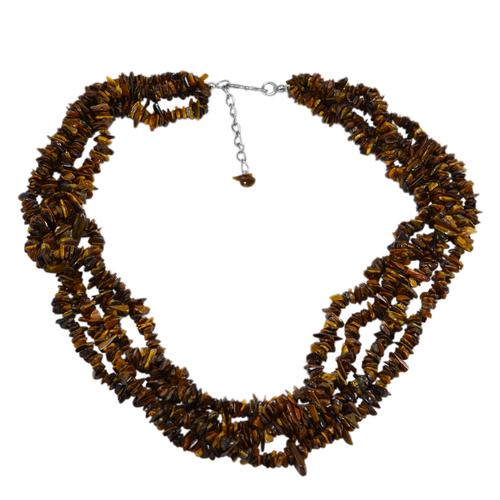 Tiger Eye Gemstone Chips Necklace PG-131519
