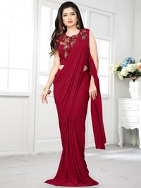 Maroon Lycra Pre  Fancy Saree with Handworked Patch