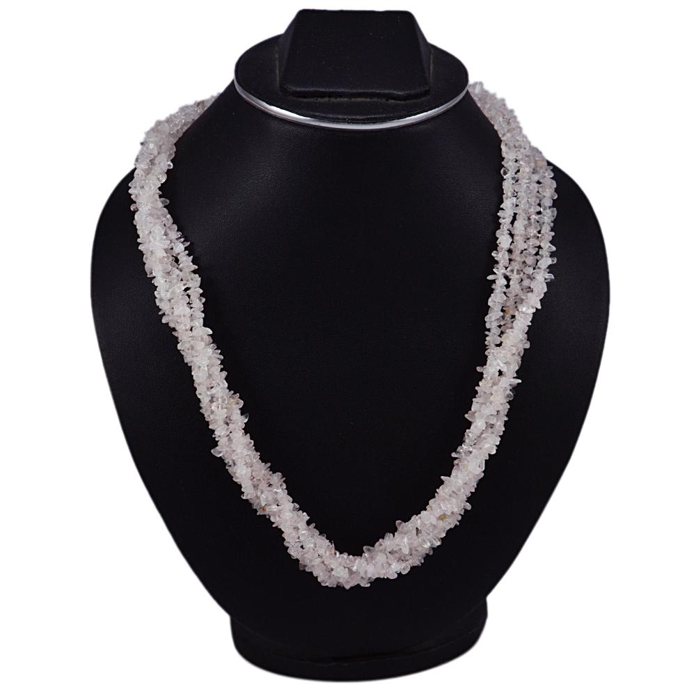 Rose Quartz Gemstone Chips Necklace PG-131533