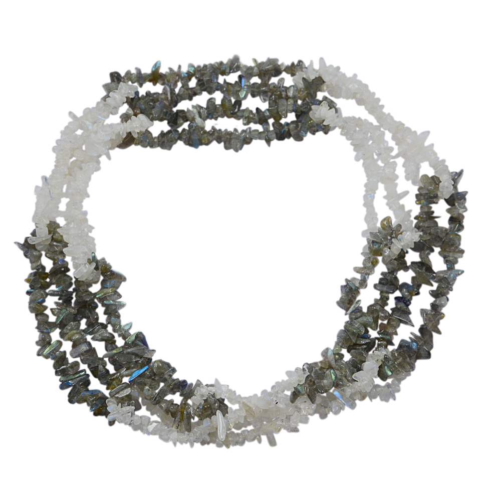 Labradorite & Rainbow Moonstone Gemstone Chips Necklace PG-131543