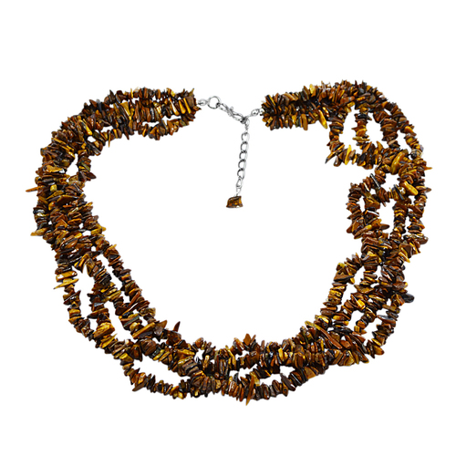 Tiger Eye Gemstone Chips Necklace PG-131547