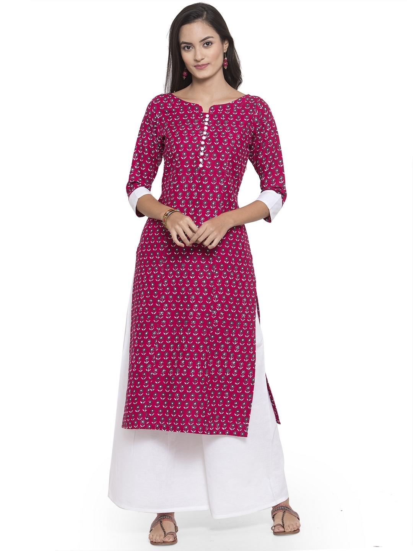 Pink Soft Rayon Printed Kurtis With Palazzo