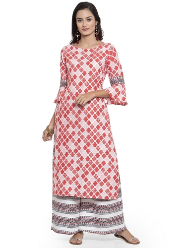 RAYON PRINTED KURTA WITH SARARA SET