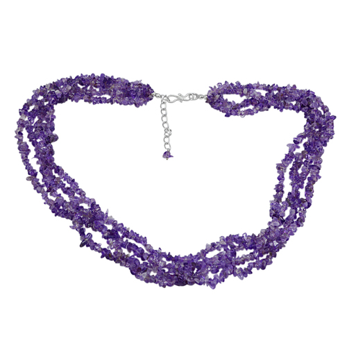 Amethyst Gemstone Chips Necklace PG-131558