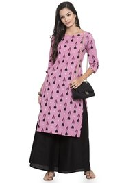Printed Cotton Kurtis With Black Palazzo