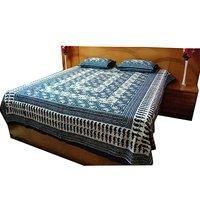 Single Bed Jaipuri Print Indigo Bed Sheet
