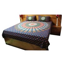 Designer Jaipuri Print Indigo Bed Sheet
