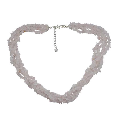 Rose Quartz Gemstone Chips Necklace PG-131578