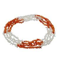 Carnelian & Rainbow Moonstone Gemstone Chips Necklace PG-131579