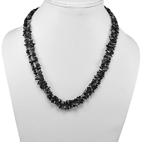 Snowflake Obsidian Gemstone Chips Necklace PG-131583