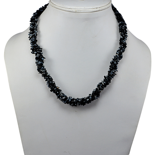 Snowflake Obsidian Gemstone Chips Necklace PG-131590